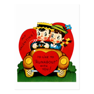 "I'd Like To ""Runabout"" With You Valentine Postcard"