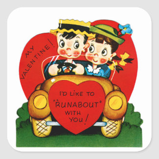 """I'd Like To """"Runabout"""" With You Valentine Square Sticker"""