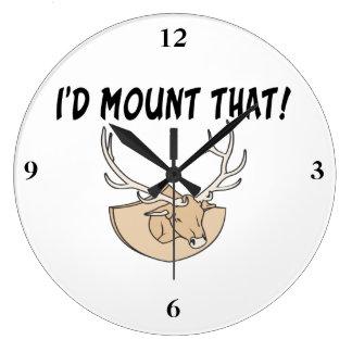 I'd Mount That Deer Head Large Clock