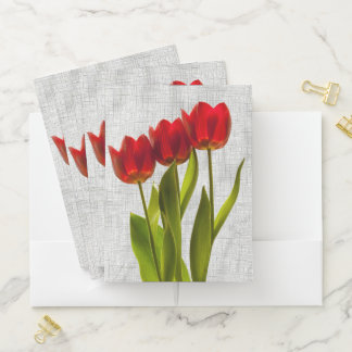 ID:  Personalize - Red Tulips Floral Photography Pocket Folder