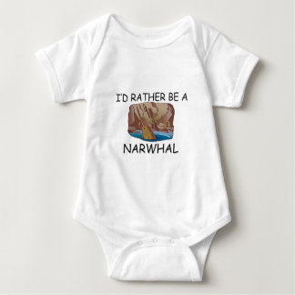 I'd Rather Be A Narwhal Baby Bodysuit