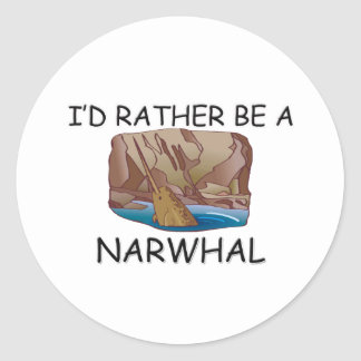 I'd Rather Be A Narwhal Classic Round Sticker