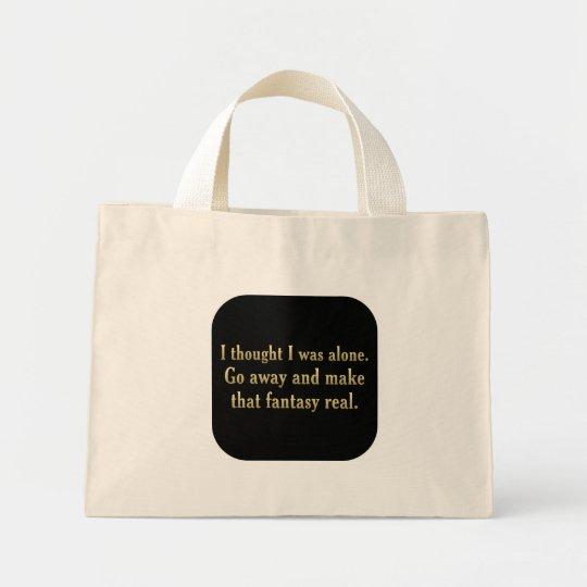 I'd rather be alone (sq) mini tote bag