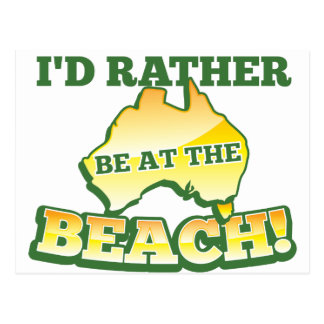 I'd rather be at the beach aussie Australian map Postcard
