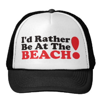 I'd Rather Be At The Beach - Red Mesh Hat