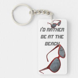 I'd Rather Be at The Beach Sunglasses Single-Sided Rectangular Acrylic Keychain
