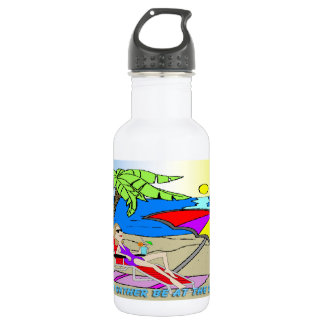 I'd Rather Be at the Beach - Woman Liberty Bottle 18oz Water Bottle