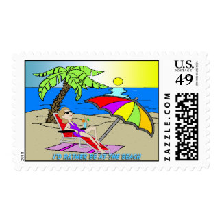 I'd Rather Be at the Beach - Woman Postage