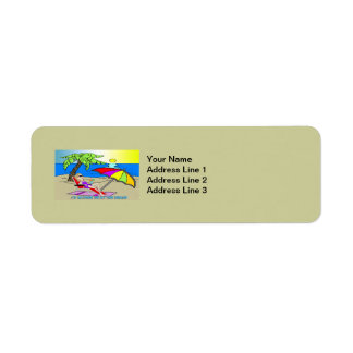 I'd Rather Be at the Beach - Woman Return Address  Label