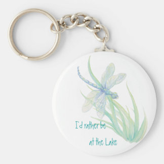 I'd rather be at the Lake  Dragonfly in Blue Aqua Keychain