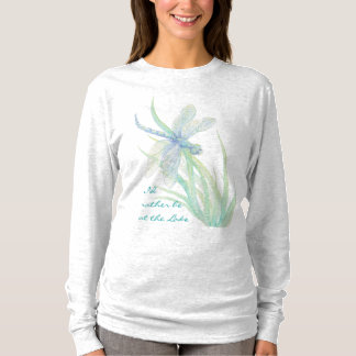 """""""I'd Rather be at the Lake Watercolor Dragonfly T-Shirt"""