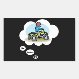I'd rather be ATV Riding 4 Rectangle Sticker