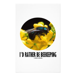 I'd Rather Be Beekeeping (Bee On Barberry Flower) Stationery