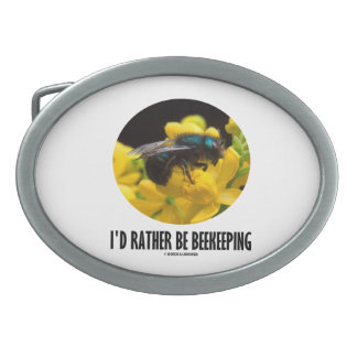 I'd Rather Be Beekeeping (Bee On Yellow Flower) Oval Belt Buckle