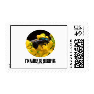 I'd Rather Be Beekeeping (Bee On Yellow Flower) Postage Stamp