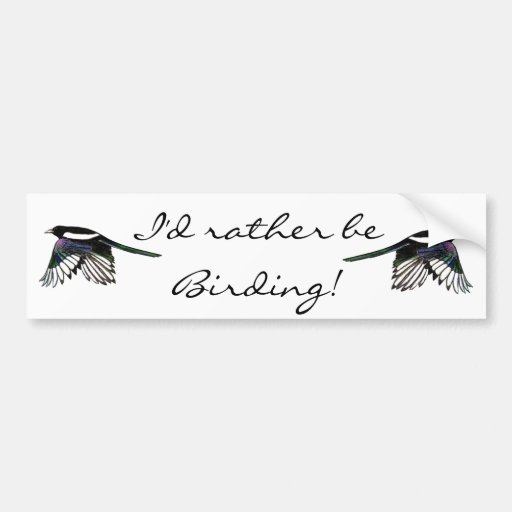 I'd Rather be Birding Fun Quote with Magpies Bumper Stickers
