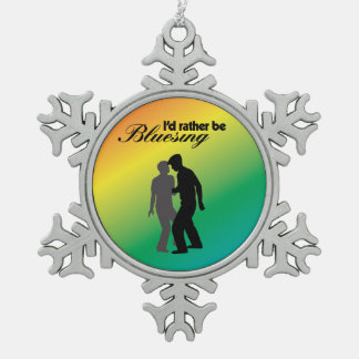 I'd Rather Be Bluesing Rainbow Edition Snowflake Pewter Christmas Ornament