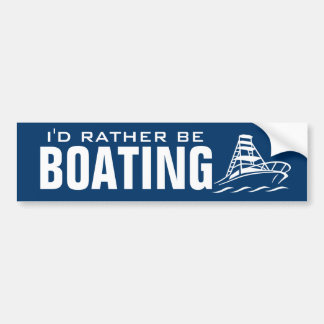 I'd rather be boating bumper sticker