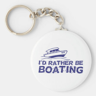 I'd Rather Be Boating Basic Round Button Keychain