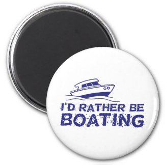 I'd Rather Be Boating 2 Inch Round Magnet