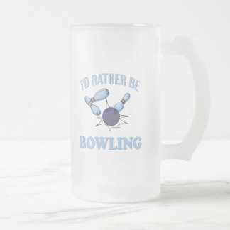 I'd Rather Be Bowling Frosted Glass Beer Mug