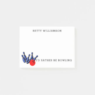 I'd Rather Be Bowling, Personalized Post-it Notes