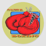 I'd Rather be Boxing Classic Round Sticker