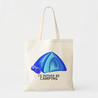 I'd rather be camping budget tote bag