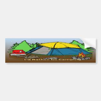 I'd Rather Be Camping Bumper Sticker Car Bumper Sticker
