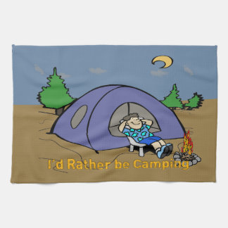 I'd Rather Be Camping - Camp Scene American MoJo K Kitchen Towel
