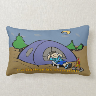 I'd Rather Be Camping - Camp Scene American MoJo L Lumbar Pillow