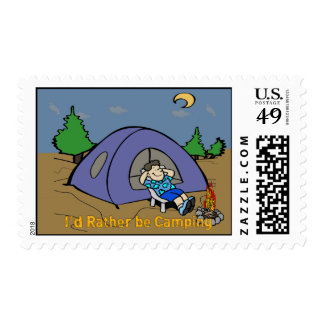 I'd Rather Be Camping - Camp Scene Postage