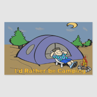 I'd Rather Be Camping - Camp Scene Rectangle Stick Rectangular Sticker