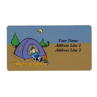 I'd Rather Be Camping - Camp Scene Shipping Addres Shipping Label