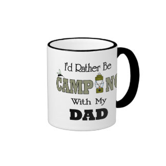 I'd Rather Be Camping  with Dad Ringer Coffee Mug