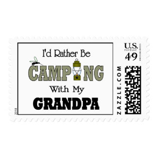 I'd Rather Be Camping  with Grandpa Postage Stamp
