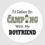 I'd Rather Be Camping  with My Boyfriend Classic Round Sticker