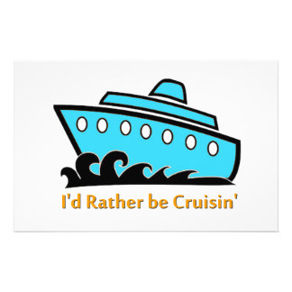 I'd Rather Be Cruising blue Stationery