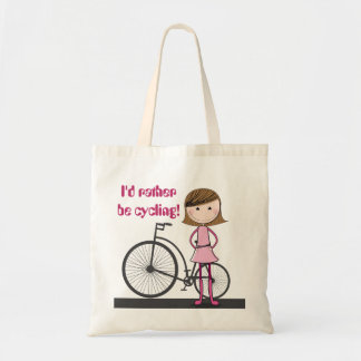 I'd rather be cycling! - A cute, useful tote bag. Budget Tote Bag