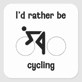 I'd rather be cycling square sticker