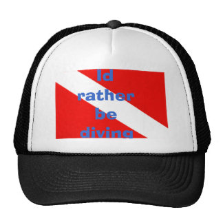Id rather be diving trucker hat