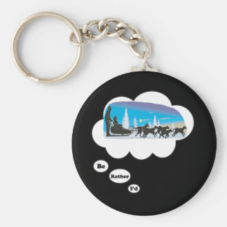 I'd rather be Dog Sled Racing 2 Basic Round Button Keychain