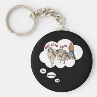 I'd rather be Dog Sled Racing Basic Round Button Keychain