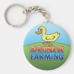 I'd Rather be Farming! duck (Virtual Farming) Basic Round Button Keychain