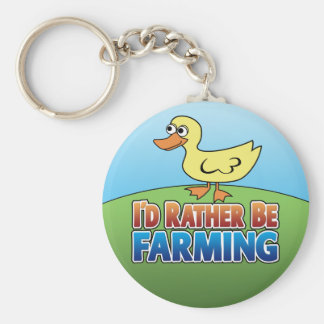 I'd Rather be Farming! duck (Virtual Farming) Keychain