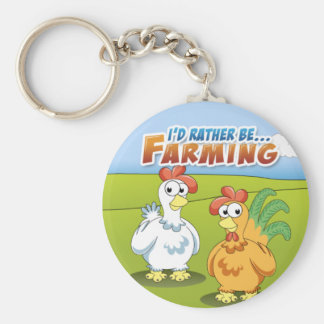 I'd Rather Be...Farming Basic Round Button Keychain