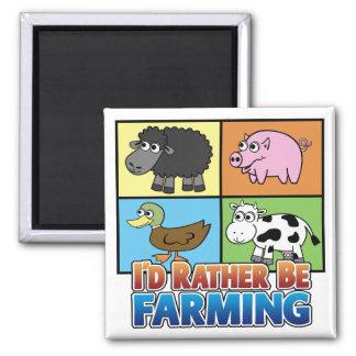 I'd rather be farming! (virtual farmer) 2 inch square magnet