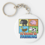 I'd rather be farming! (virtual farmer) basic round button keychain