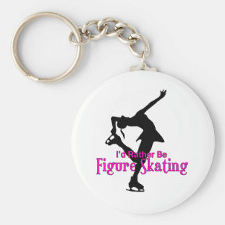 """""""I'd Rather Be Figure Skating"""" Basic Round Button Keychain"""
