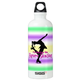 I'd Rather Be Figure Skating- green & purple Aluminum Water Bottle